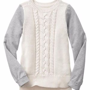 Gap girls gray and off white mix fabric sweater